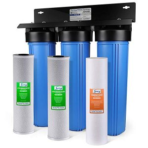 iSpring WKB32B WGB32B 3-Stage Whole House Water Filtration System w/ 20-Inch Big Blue Sediment and Carbon Block Filters