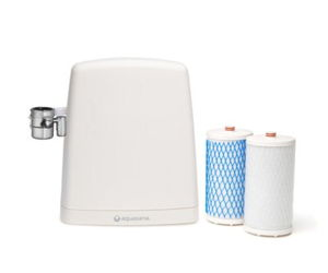 A countertop water filter system