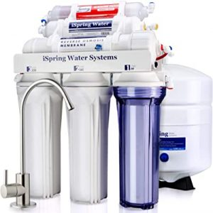 iSpring Reverse Osmosis Drinking Water Filter System with Alkaline Remineralization-Natural pH, White