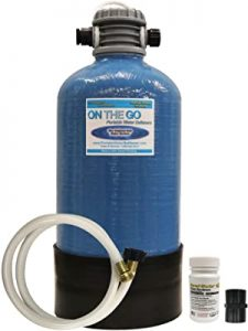 On the go portable water purifier and softener